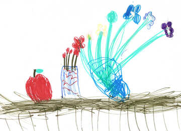 Still life vase of flowers.  Children drawing. №18647