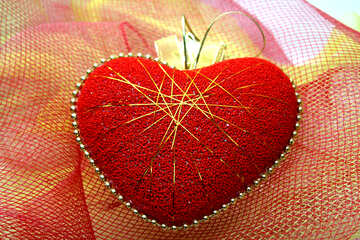 The red heart-plus icon with gold threads №18004