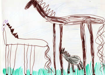 Family of horses.  Children drawing. №18693