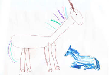 A horse with foal. Children drawing. №18694