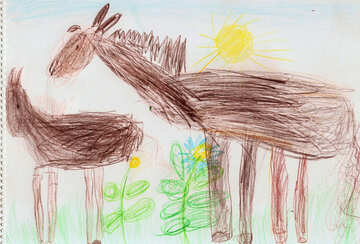 Horses in meadow.  Children drawing. №18708