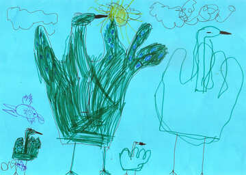 Peacock and baby peacock.  Children drawing. №18717