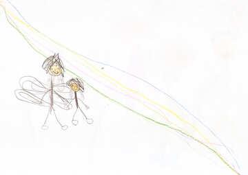 Fairies under the rainbow.  Children drawing. №18712