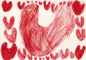 Heart frame.  Children drawing. №18642