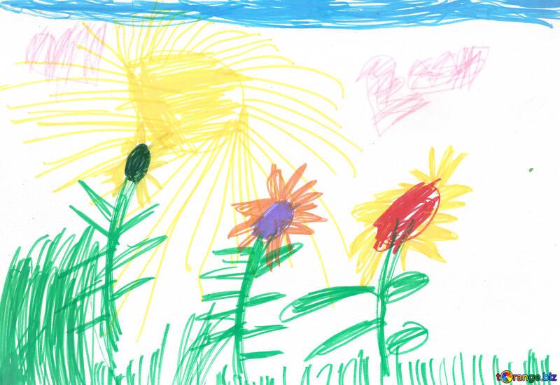 Sunflowers.  Children drawing. №18678