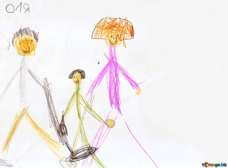Children's drawings of people family treasure hunters. children ...