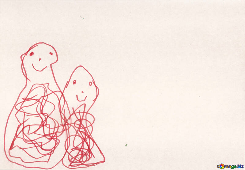 Two dolls.  Children drawing. №18722