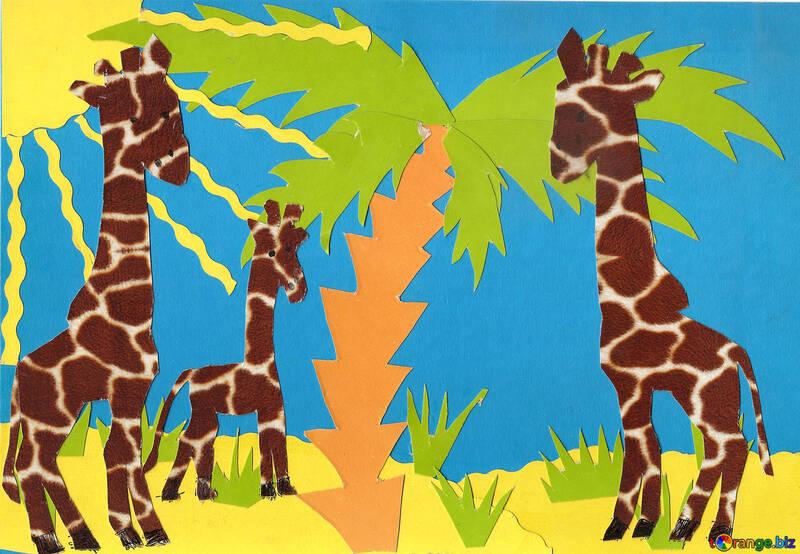 Applique giraffe under the palm trees №18671