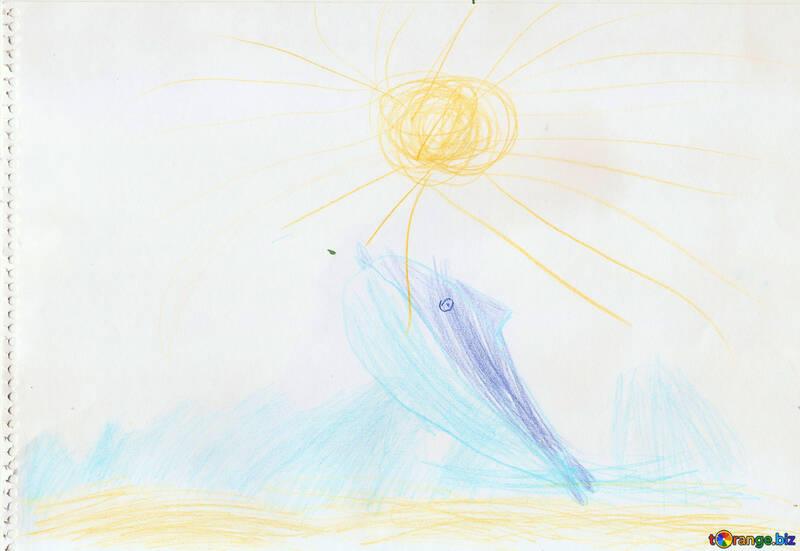 Delphin aus dem Wasser springen.Kinder zeichnen. №18709