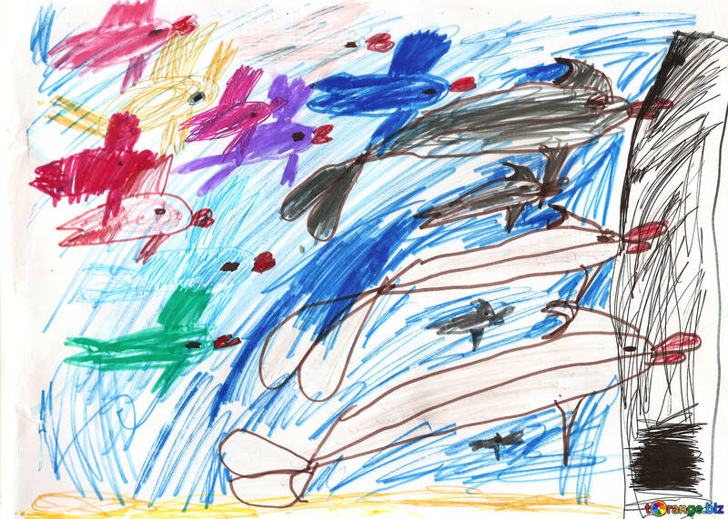 Fish and dolphins. Children drawing. №18700