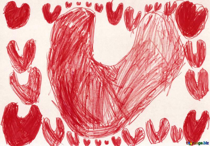 Сердечная рамка. Детский рисунок. №18642