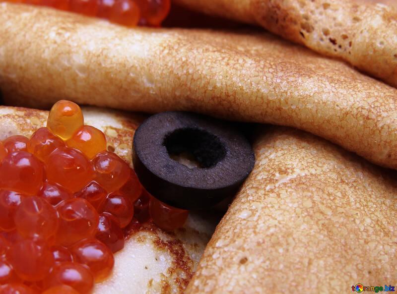 Pancakes with red caviar №19791