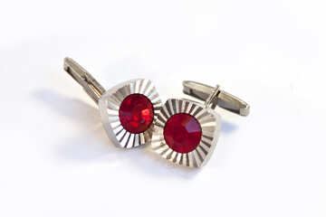 Cufflinks with red stone  №2500