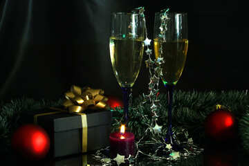 New Year`s Arrangement with champagne