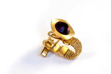 Cuff Gold with chain and stone  №2501