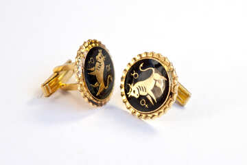 Cufflinks for men. Gold. Signs of the Zodiac. Taurus. №2115