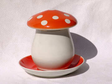 pot with lid in the form of mushroom  №2513