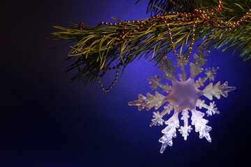 Pine branch with decoration snowflake №2361