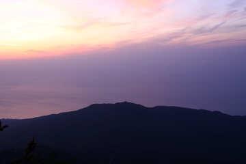 Sunrise over the sea and mountains №2253