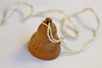 Clay bell on string. №2090