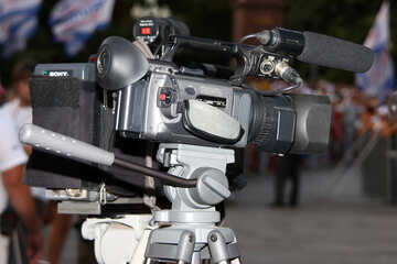 Professional video camera on tripod  №2686