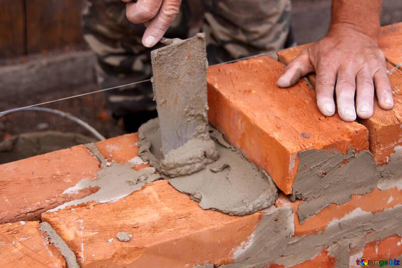 Mason building brick wall №2920