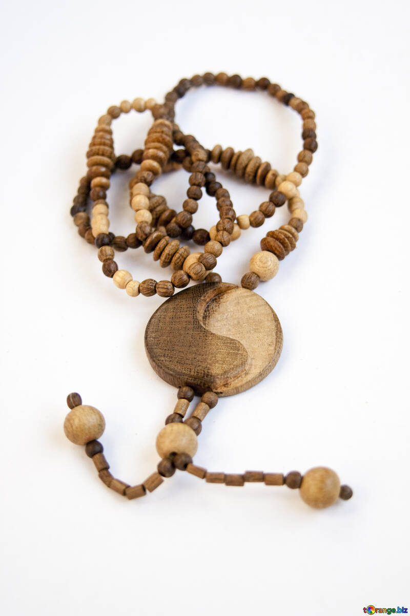 Wooden beads - rosary with medal of yin-yang №2060