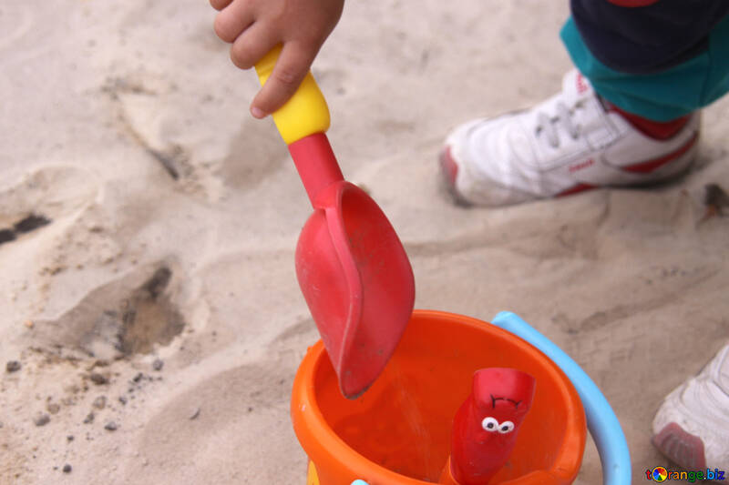 Sandbox toys in children hand №2865