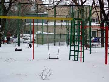 Playground covered with snow №21599