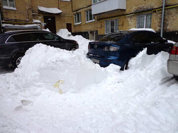 Cars blocked snowdrift №21537