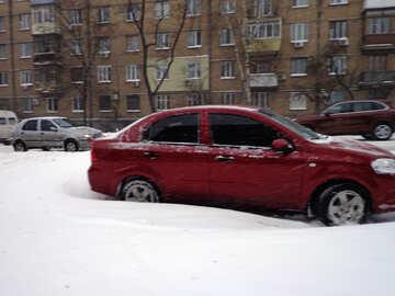 Das Auto war geparkt im Schnee №21554