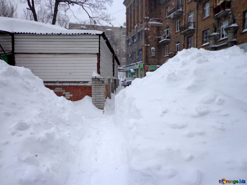 Snow drifts taller than man №21559