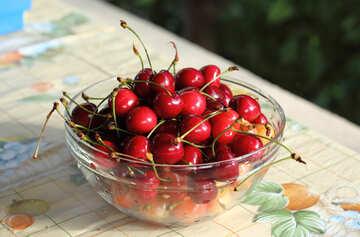 Plate of sweet cherries №22185