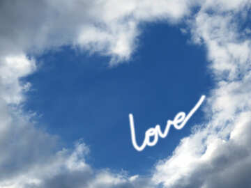 Background love heart sky №22603