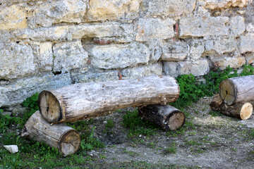 A bench made of logs №23751