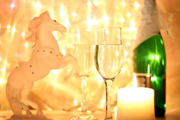 Christmas horse with champagne №24680