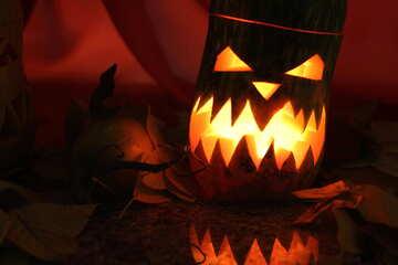 Candlestick out of pumpkin on Halloween №24293