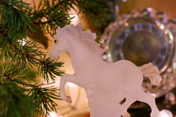 White horse in New Year`s entourage №24559
