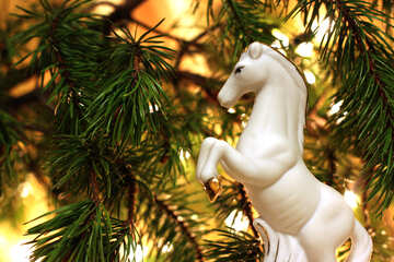 White horse in the new year №24625