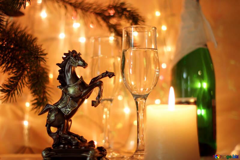 Arbre de Noël avec cheval №24678