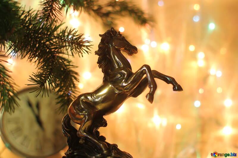 Postkarte für das neue Jahr-Pferd №24588