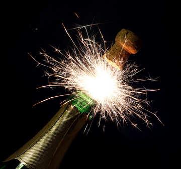 Sparks of champagne bottle №25640