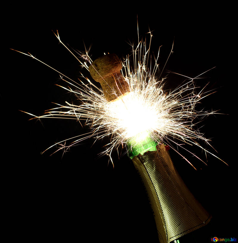 New Year`s fireworks with champagne №25620