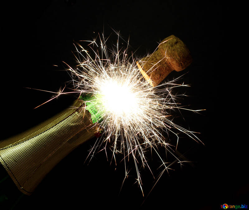New Year`s fireworks with champagne №25622