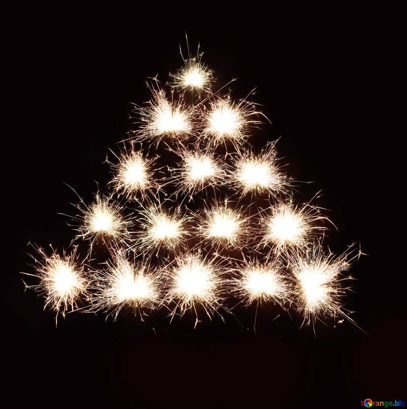 Árbol de Navidad fondo de fuegos artificiales №25593