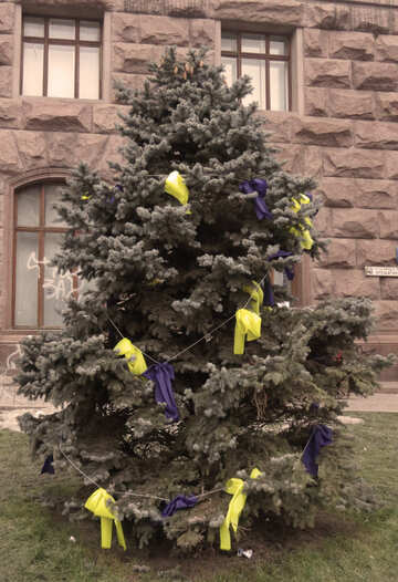 Tree decorated with yellow and blue №27956
