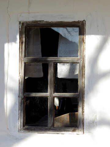 Alte Fenster mit Vorhängen №28661