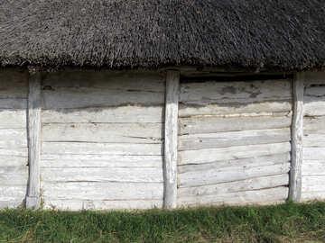 Texture della parete della casa in legno №28845