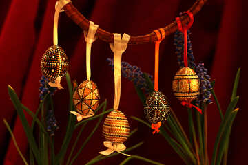 Easter eggs hanging №29738