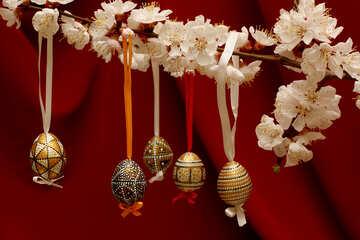 Easter eggs on flowering tree